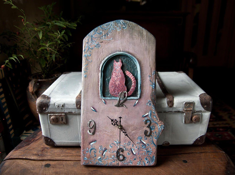 Unique unusual clock cat art wall clock wood metal clock rose blue