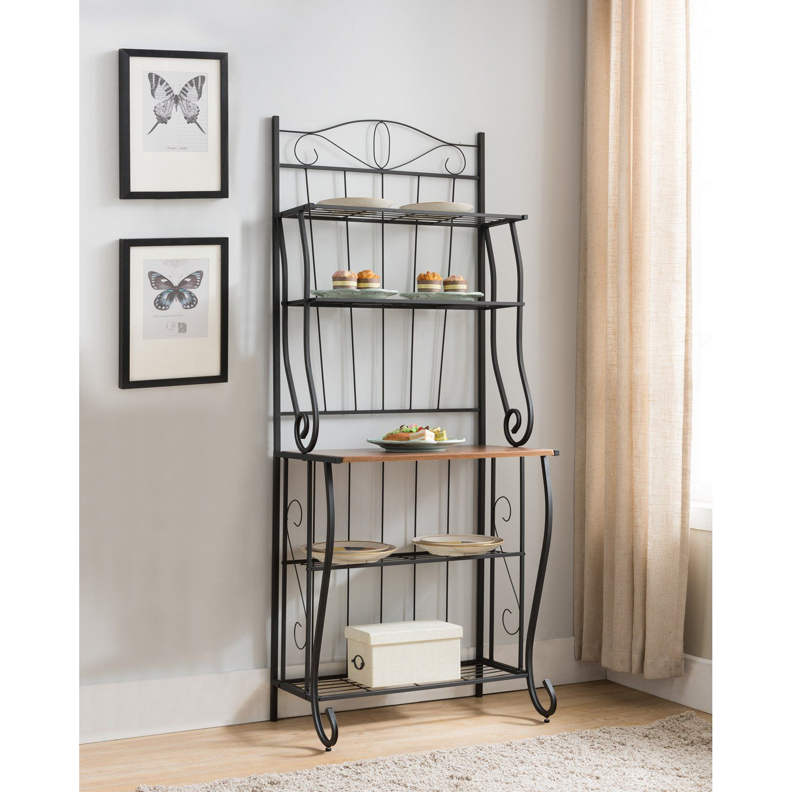 K B Furniture K3025 Metal Kitchen Bakers Rack Bakers Rack Glass