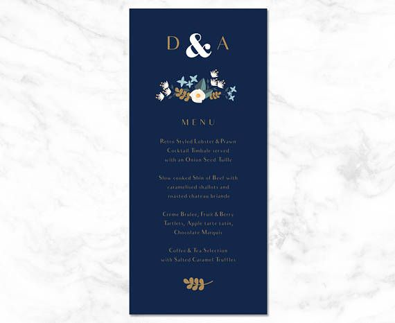 Wedding Menu Template Wedding Menu Cards Wedding Menu Printable