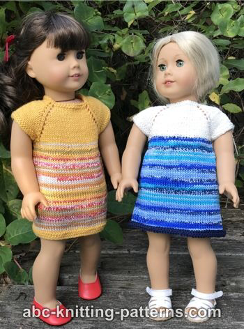 Free Doll Dress Knitting Pattern #dolldresspatterns