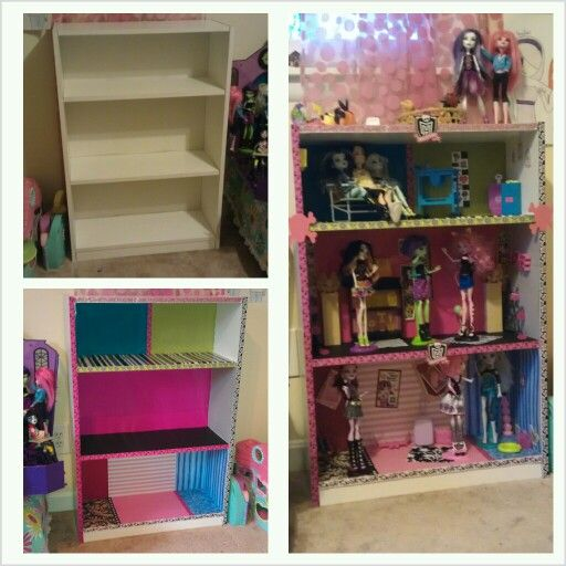 DIY Monster High Dollhouse Made From An Old Bookshelf Scrapbook Paper For The Carpet And Wallpaper Ribbon Around Edges