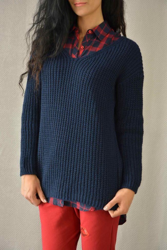 d3deb0e3746d Γυναικείο πουλόβερ με βε PLEK-2702-bl Πλεκτά   Πλεκτά και ζακέτες ...