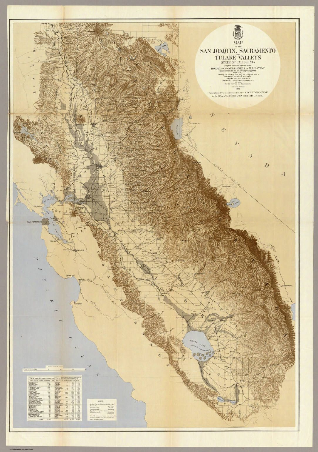 Map Of The San Joaquin Sacramento And Tulare Valleys State Of