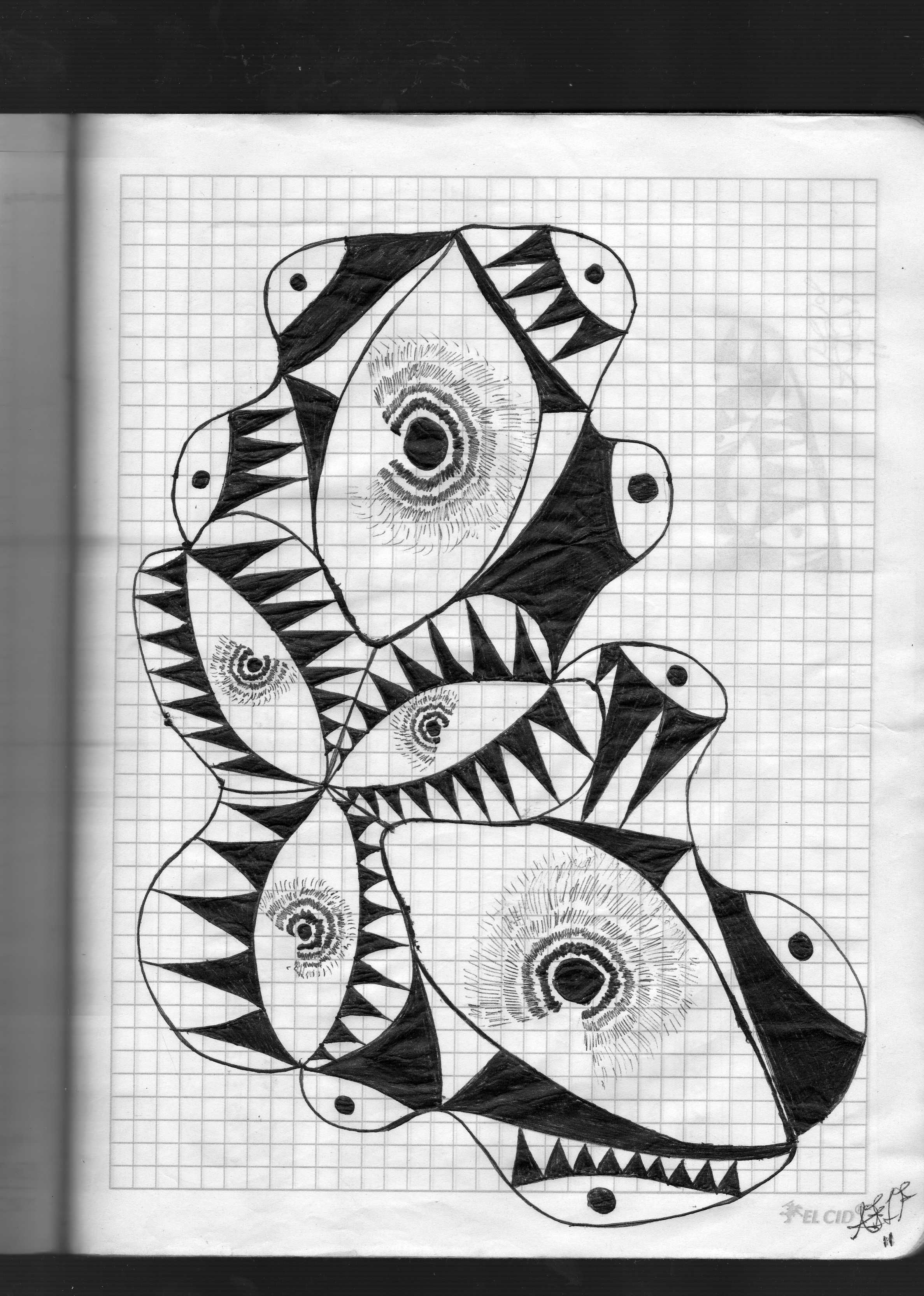 Dibujo Abstracto De Ojos Y Espinas Contemporary Art Abstract Abstract Art