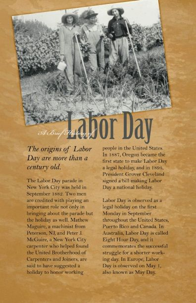 The History Of Labor Day Www Myclevelandmom Com Labor Day Labor
