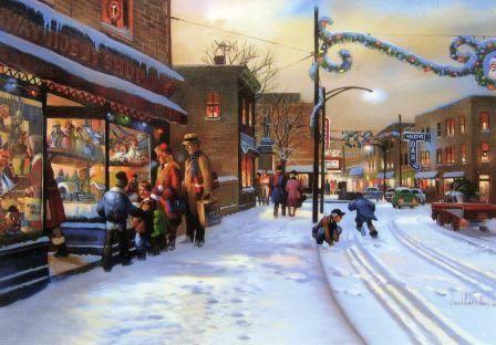 2009 Rahway Hobby Shop Original Print Christmas Card By
