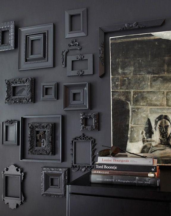 50 Shades Of Grey Rooms Home Black Walls Frames On Wall