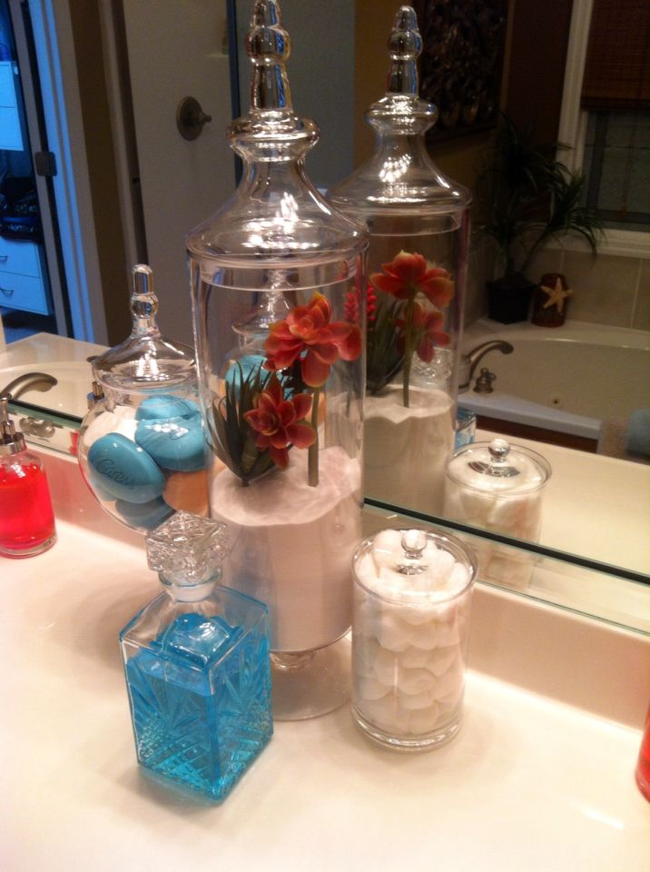 Decorative Apothecary Jars For Bathroom. I Used White Sand From Hobby Lobby  For Large One