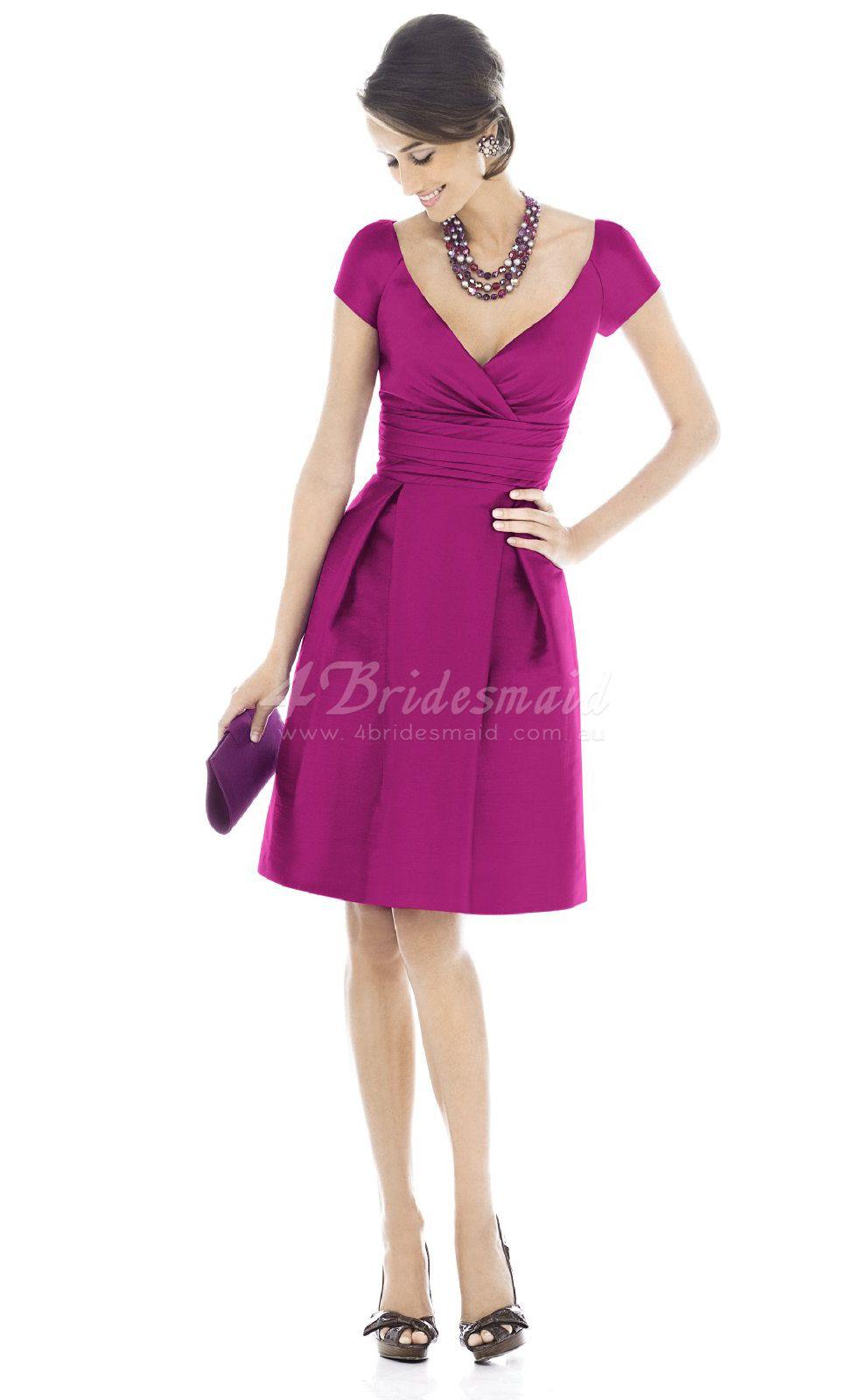 A-line V-neck Satin Short/Mini Fuchsia Bridesmaid Dresses(BD220 ...