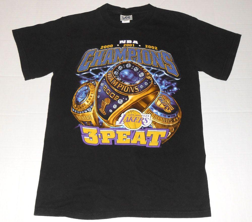 Los Angeles Lakers 3 Peat Nba Champions Black T Shirt Xl 2000 2002 Short Sleeve Nba Shirts Nba Champions Los Angeles Lakers