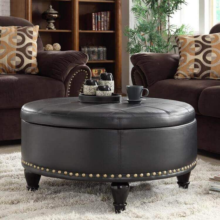 Ottoman Coffee Table Round Storage Ottoman Leather Storage Ottoman Storage Ottoman #ottoman #coffee #tables #living #room