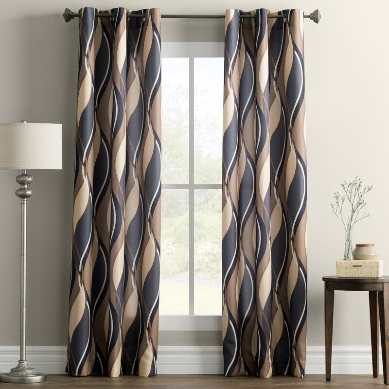 Lotte Geometric Semi Sheer Grommet Single Curtain Panel Panel