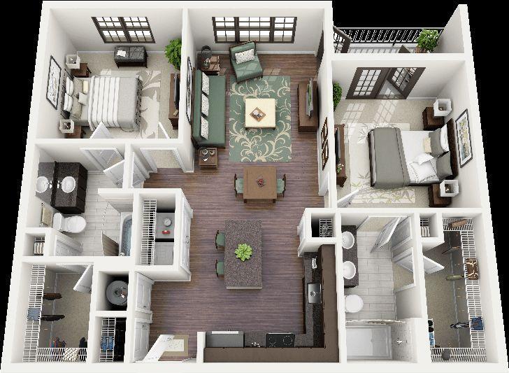 Resultado De Imagen Para Three Bedroom Apartments Pleasing 2 Bedroom House Interior Designs Decorating Inspiration