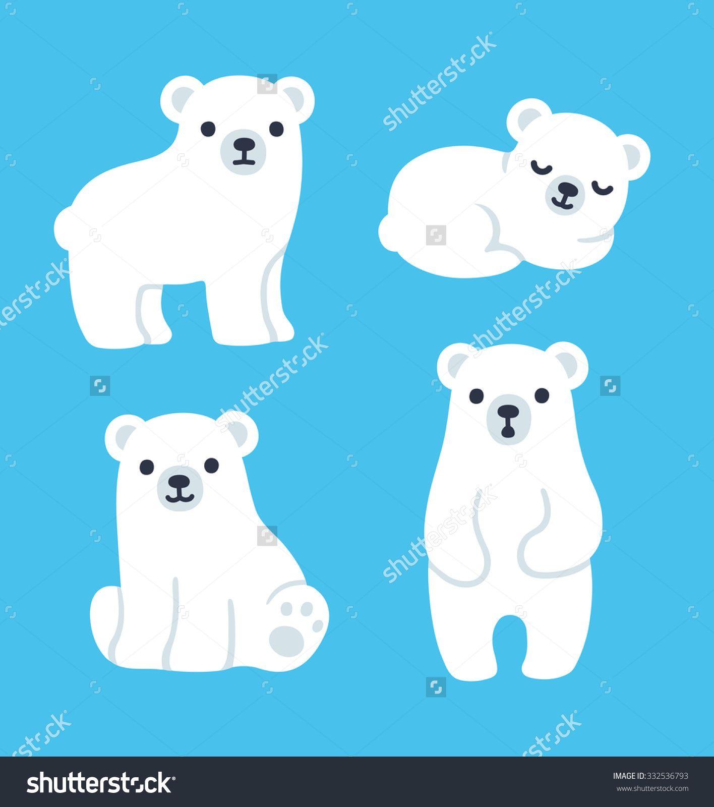 Cute Cartoon Polar Bear Cubs Collection Simple Modern Style Vector Illustration Polar Bear Drawing Polar Bear Illustration Polar Bear Paint