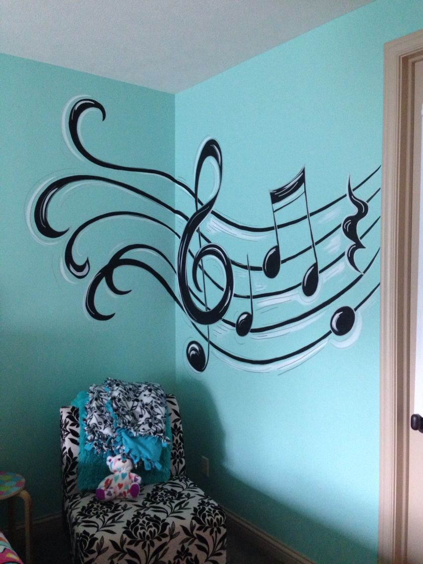 Musical notes theme teen girls room murals teen music - Wall decor for teenage girl bedroom ...