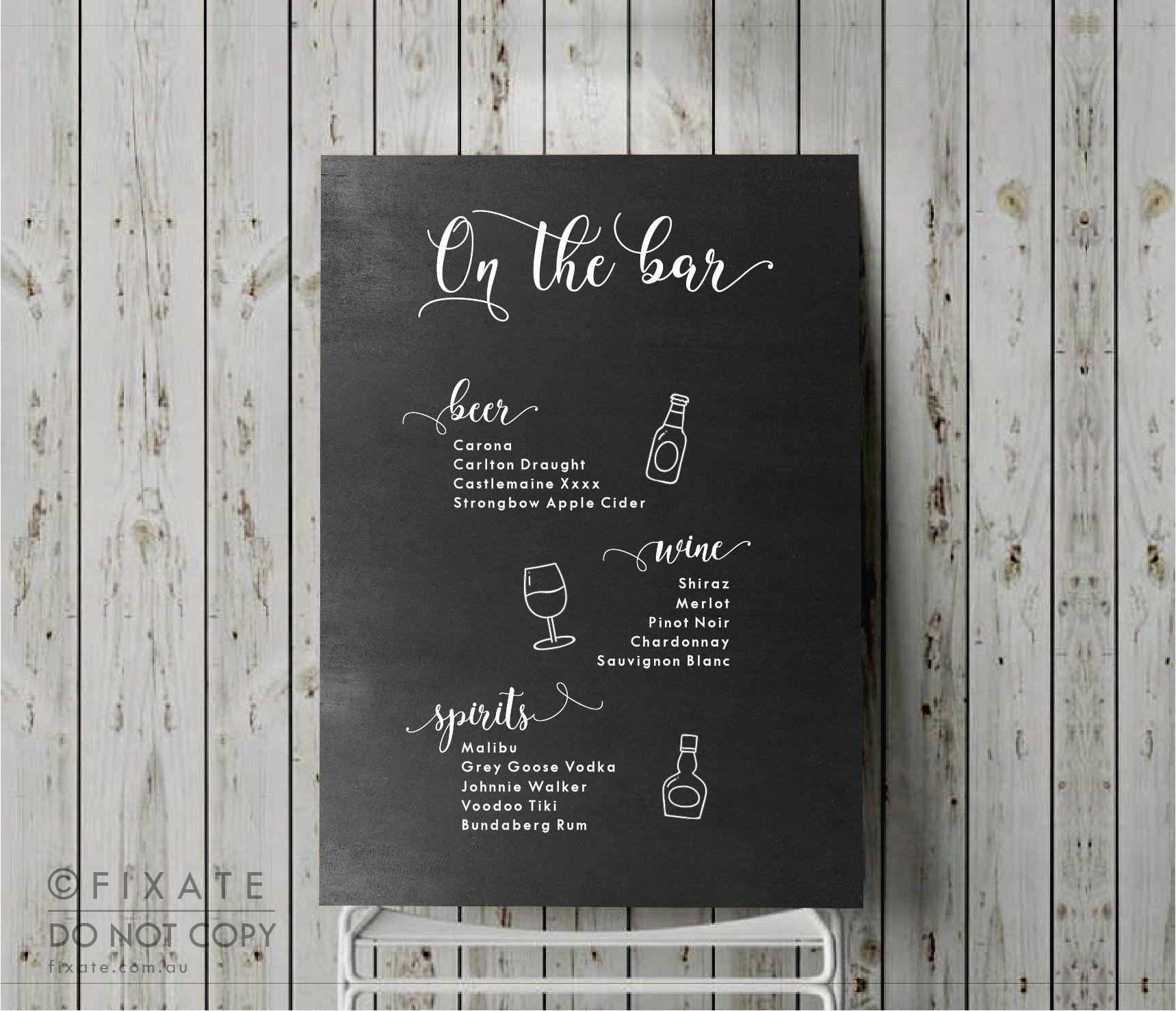 Custom bar menu decal personalised drinks menu decal wedding bar menu sign wedding drinks list sticker wedding signage bar menu sign by fixatedesigns on