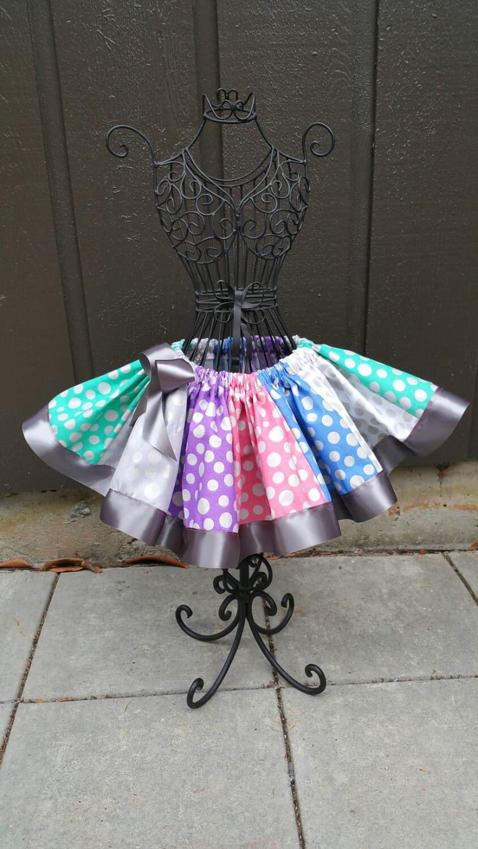 Rainbow Tutu Silver Girls Skirt Birthday Outfit Pettiskirt