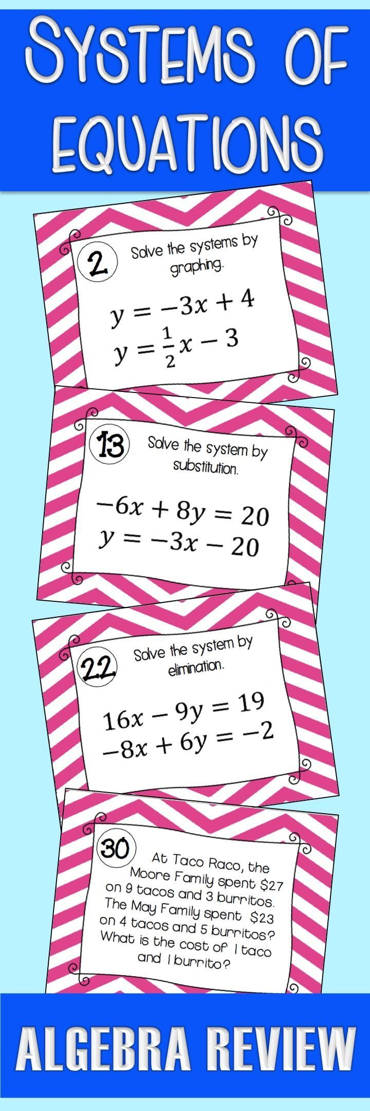 Systems of Equations Activity Task Cards Systems of