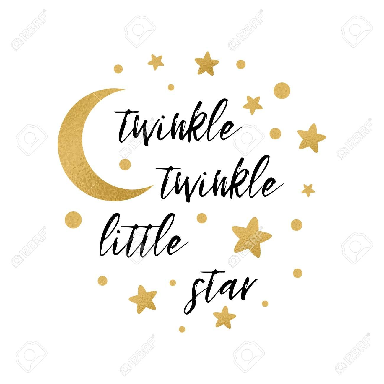 Twinkle Twinkle Little Star Text With Cute Gold Star And Moon Baby Girl Shower Cards Twinkle Twinkle Little Star Little Star