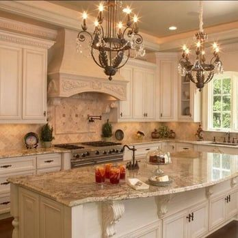 Stunning French Country Kitchen, Sienna Brûlée Granite Slab With 4x4  Tumbled Bottocino Marble .