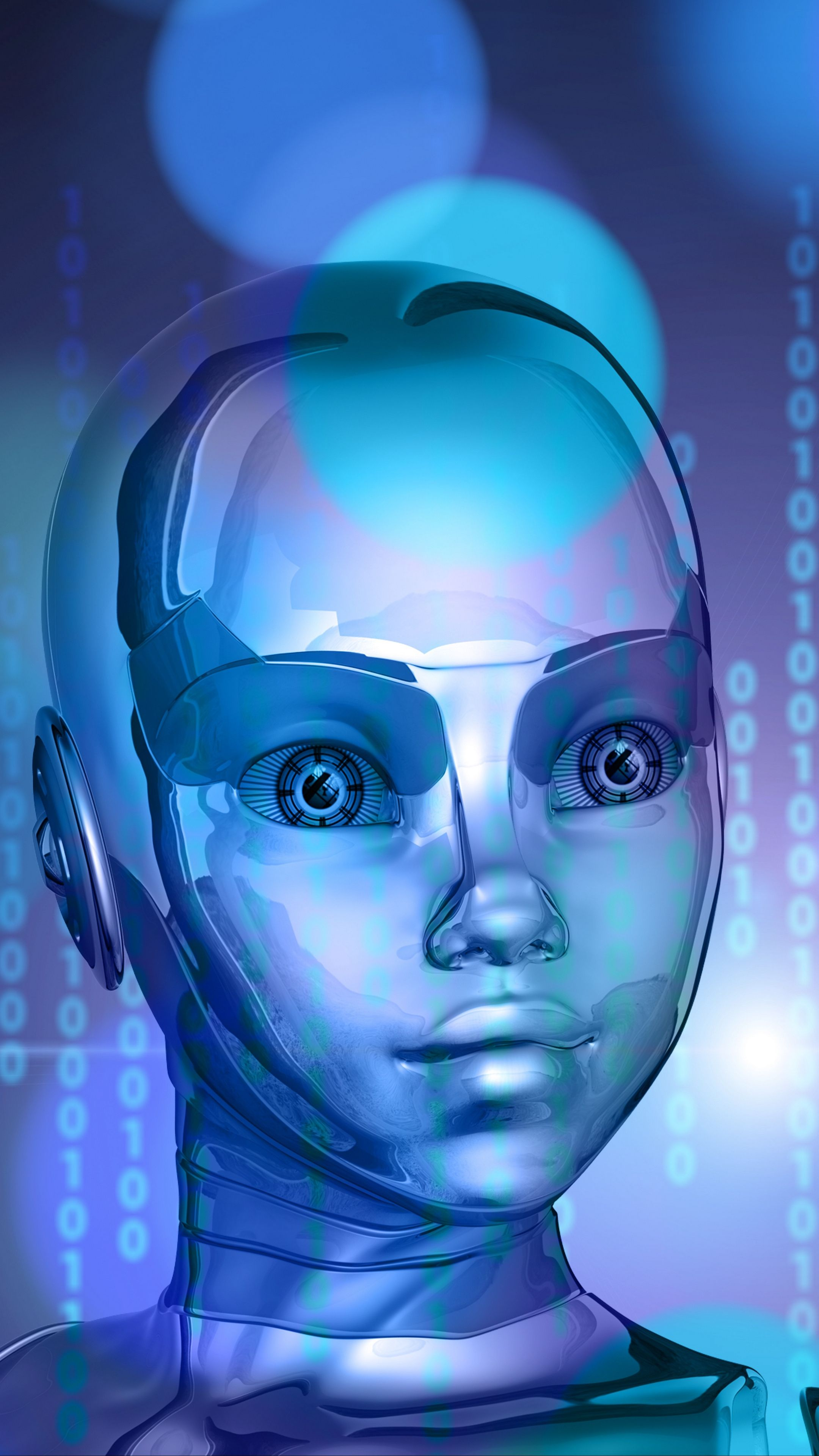 Misc robot, binary code, face, metal android