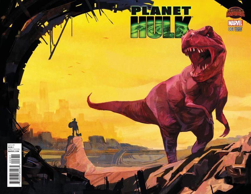 Cover for Planet Hulk (Marvel, 2015 series) #3 [Incentive Alex Maleev Landscape Wraparound Variant]
