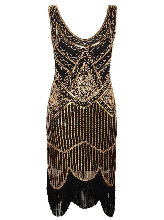 11828f965d1 Vijiv Womens 1920s Gastby Inspired Sequined Embellished Fringed Flapper  Dress  0.00 AT Vintagedancer.com
