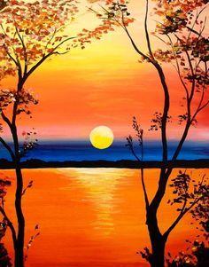 Vivid Sunset Landscape Paintings Sunset Painting Simple Acrylic Paintings