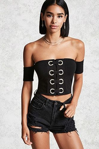 9c03c5c4a6 Lace-Up Grommet Crop Top. DetailsA knit crop top featuring a horizontal lace -up front with oversized grommet accents, an off-the-shoulder neckline, ...
