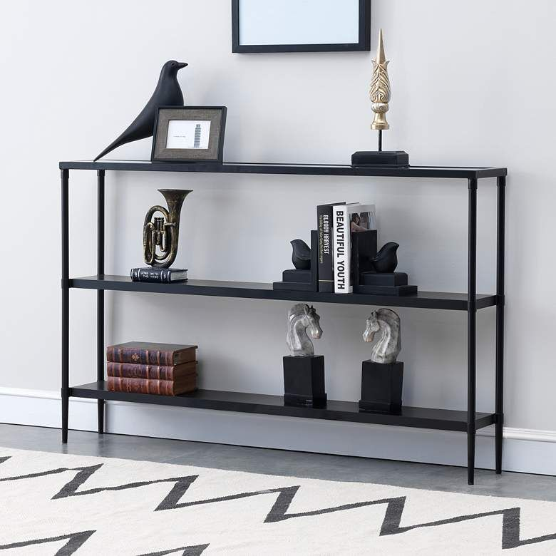 "Black Stainless Steel 47 1/4"" Wide Bookshelf Console Table"