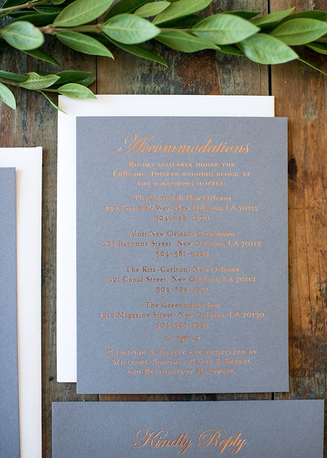 Modern Copper Foil and Gray Wedding Invitations by Harken Press / Oh So Beautiful Paper
