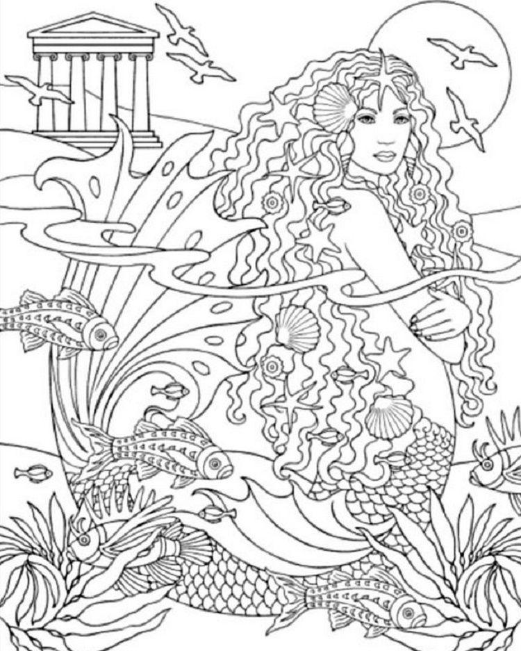 Mermaid Coloring Pages Hard Mermaid Coloring Book Mermaid Coloring Pages Coloring Books