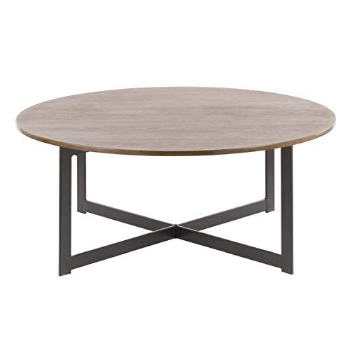 Wood Coffee Table With Metal Legs Round Coffee Table Walnut