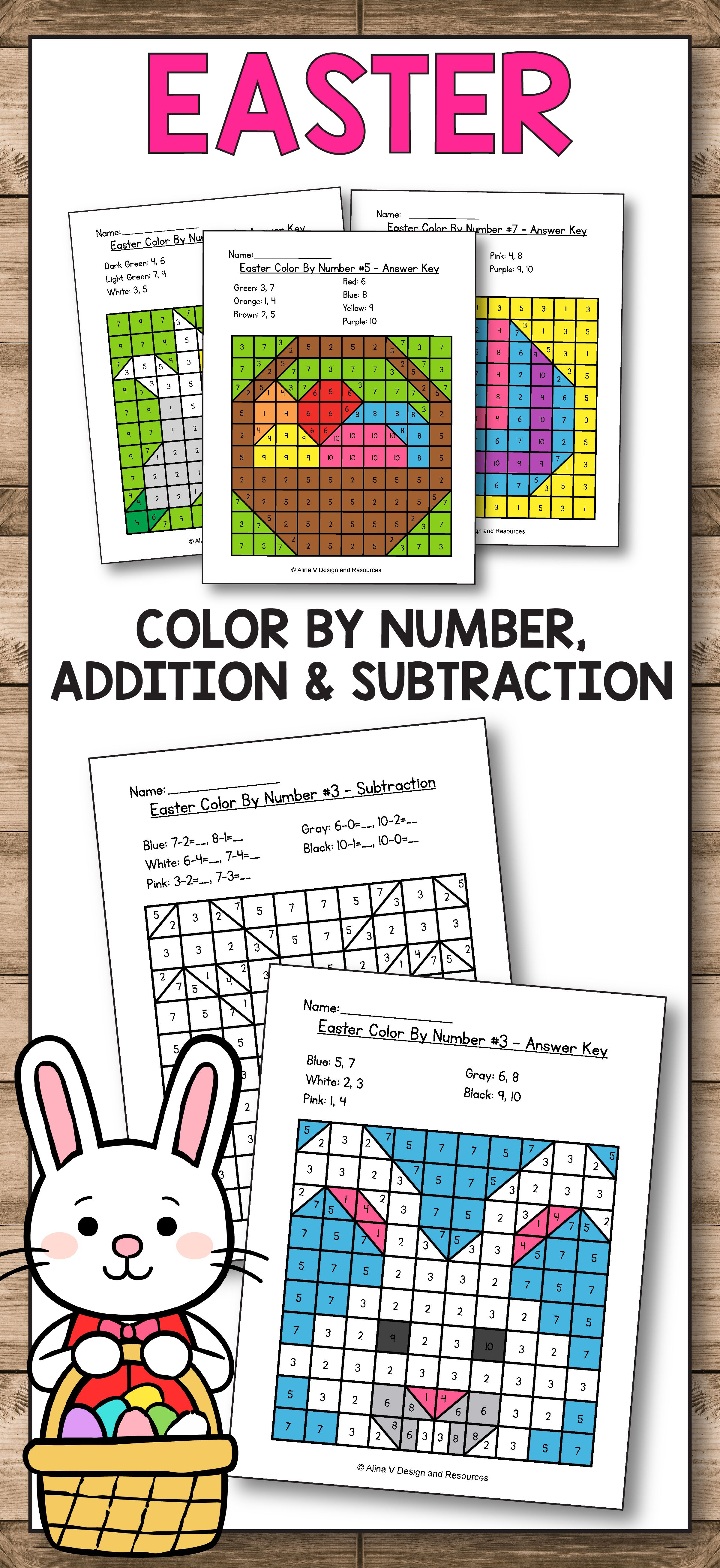 Easter Math Worksheets for preschool [ 5223 x 2400 Pixel ]