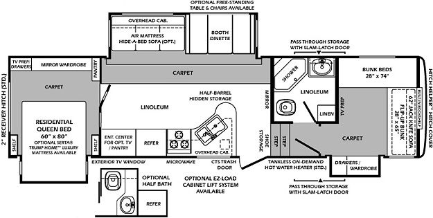 5th wheel 2 bathroom Floor Plans | WILDCAT 323QB 2012 BUNK HOUSE ...