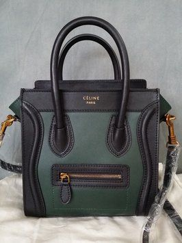 Get one of the hottest styles of the season! The Celine Nano Luggage  Bicolor Black green Tote Bag is a top 10 member favorite on Tradesy. e024e21c2839e