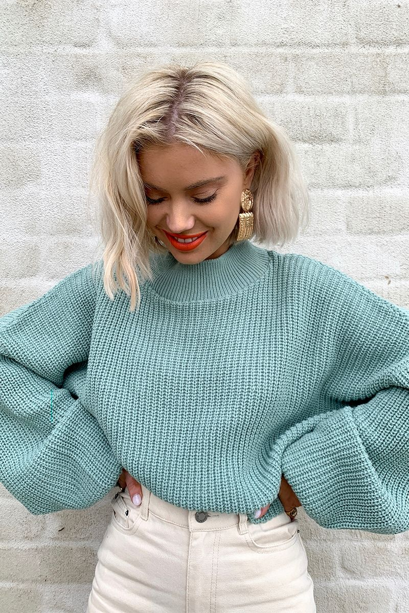 9af184017 Order the Laura Jade Light Green Cropped Balloon Sleeve Jumper from In The  Style. Shop today with next day delivery available until 10pm