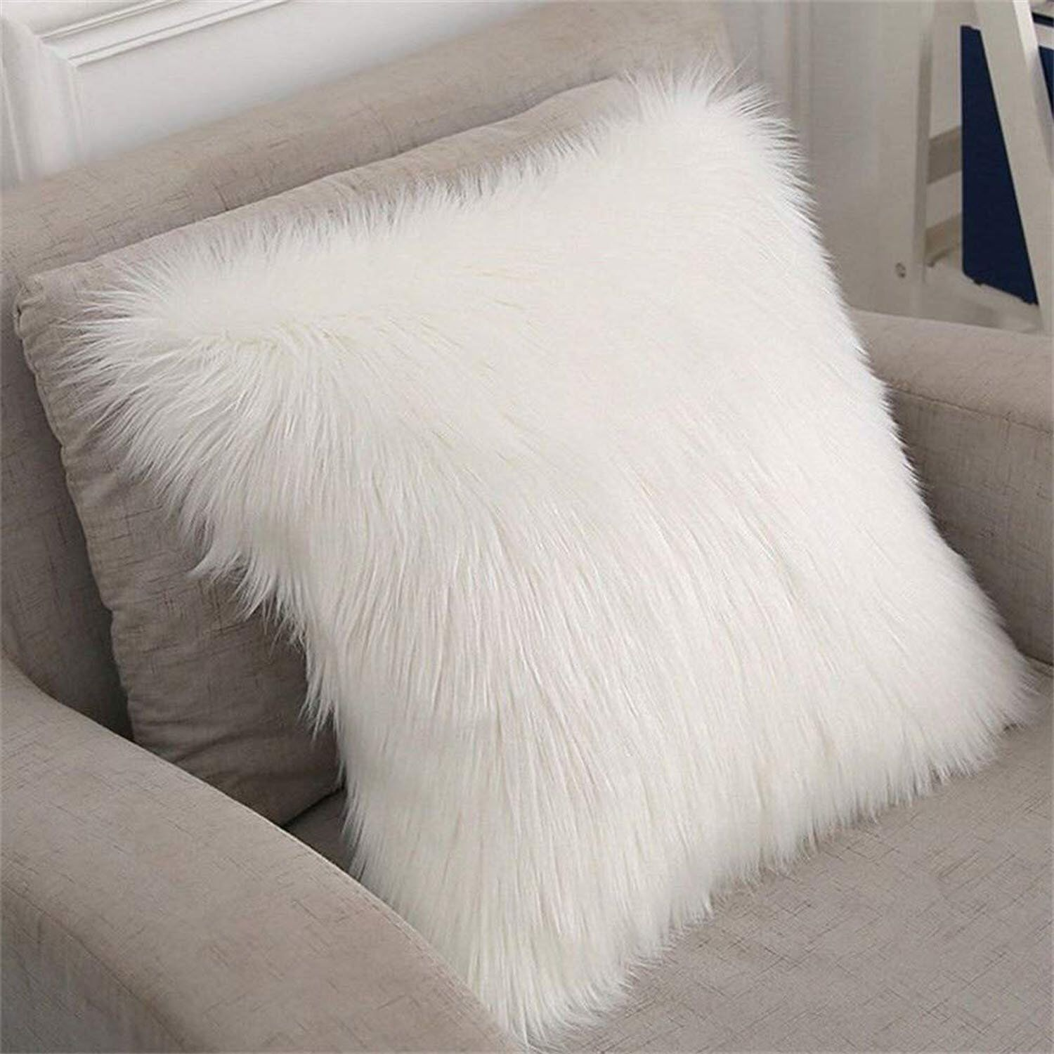 Super Faux Sheepskin Cushion Home Decor Pillow With Sheepskin Pillow Cover Sofa Wool Hairy Cushion Sofa Throw Cushion Artificial Sheepskin Chambre Decoration Coussin Decoration