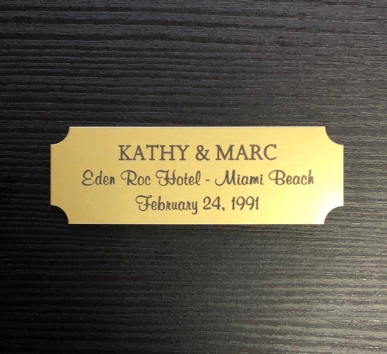 Custom Engraved 3x 1 Gold Metal Plate W