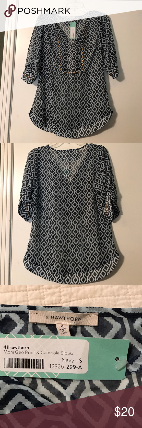 Stitch fix 41 Hawthorne Moni Geo print blouse S 41 Hawthorne Moni Geo print blouse. New with tags's, except the camisole is missing. The shirt is 36 inches at the bust and 38 inches at the hip. The sleeves are 3/4 length. The blouse has brads at the cuffs and around the yoke. The bottom has a banded shirttail hem. 41 Hawthorne Tops Blouses