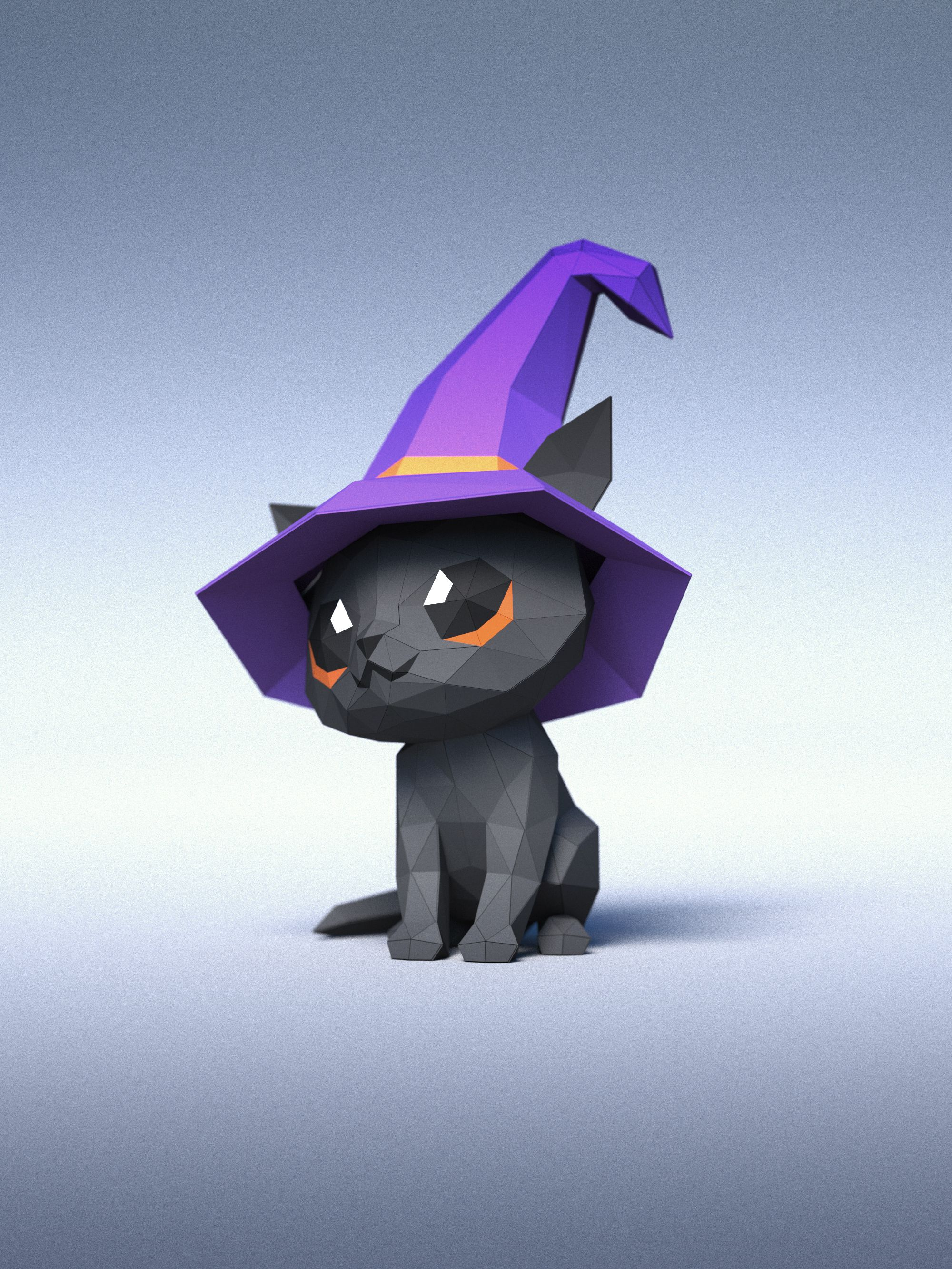 3D papercraft - Black Cat In A Hat DIY - Templates (Including colored version) Updated 19/10/2020 - PDF - DXF
