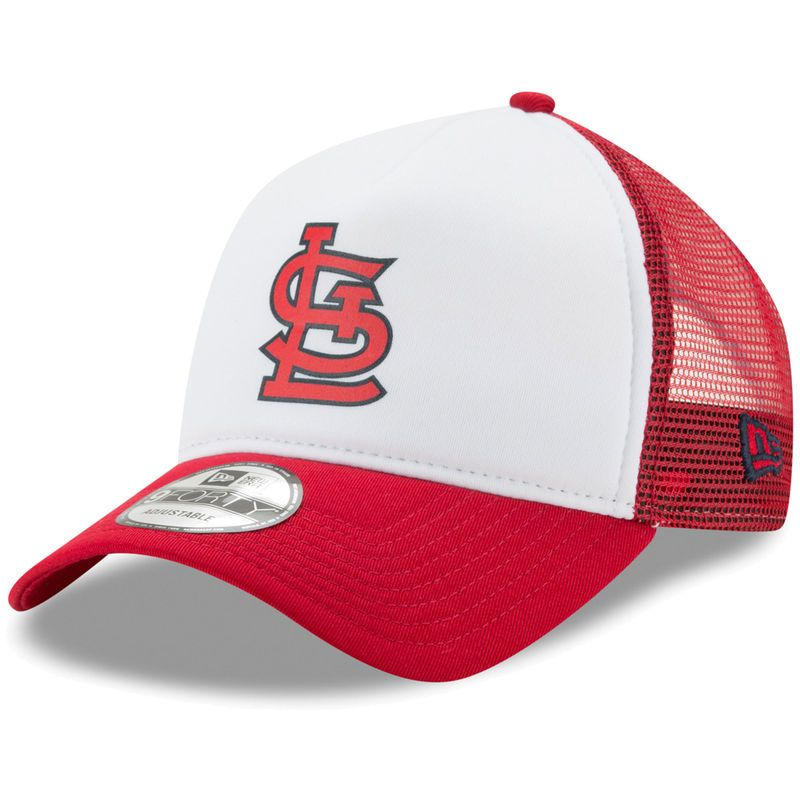 new product 31d94 cef5b St. Louis Cardinals New Era Trucker Hit A-Frame 9FORTY Adjustable Snapback  Hat - White Red
