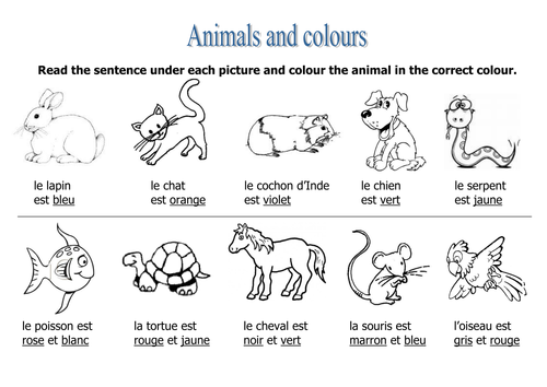 Animals Colours Worksheet French Colors Color Worksheets Color By Numbers