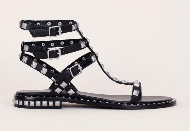 Sandales montantes Poison Ash en cuir noir clous carrés