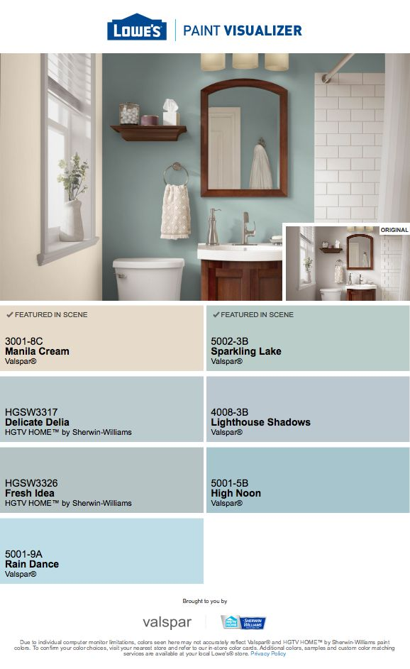 Same kitchen colors applied to bathroom | Lowes paint ...