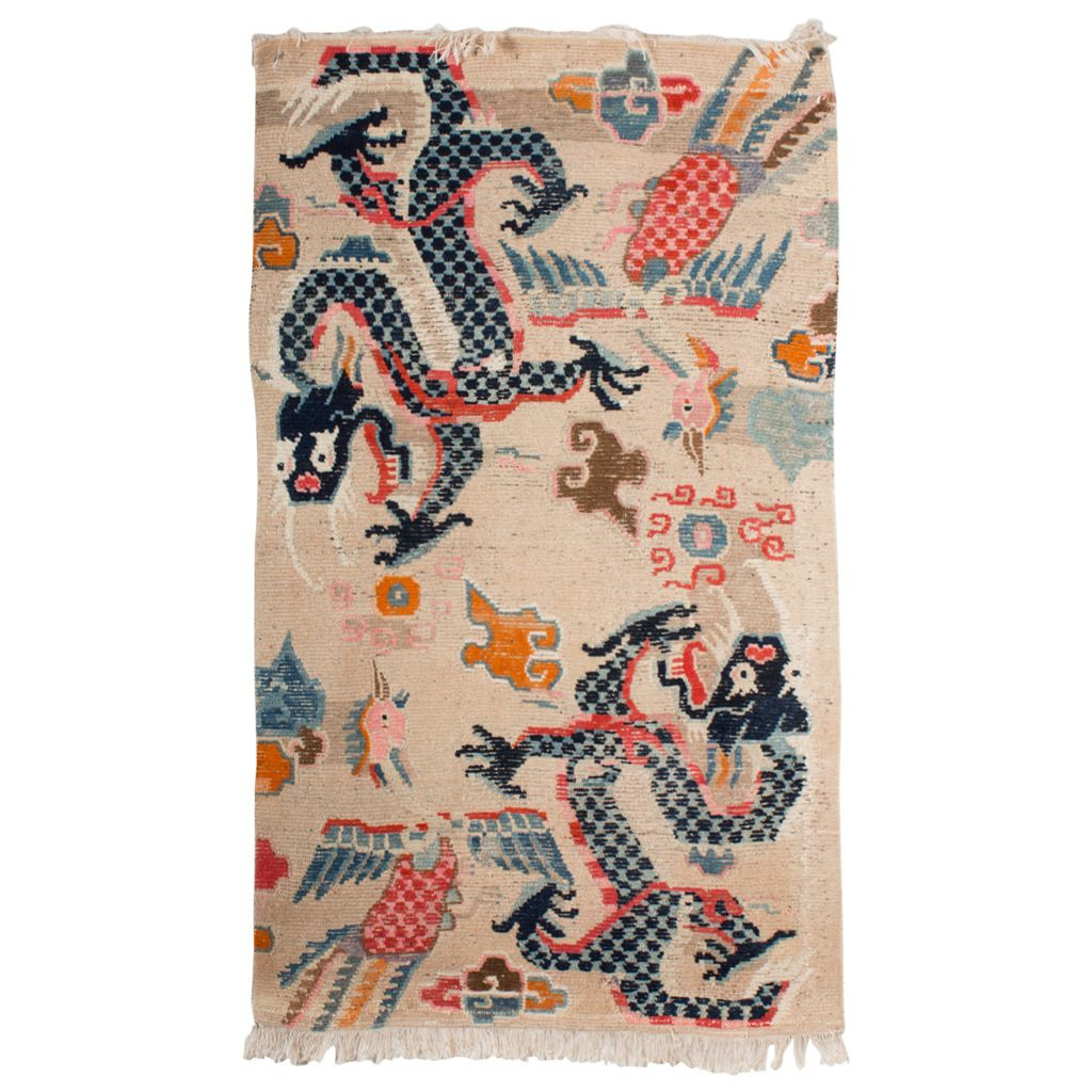 Complete Antique Tibetan Dragon And Phoenix Khaden Rug From A Unique Collection Of