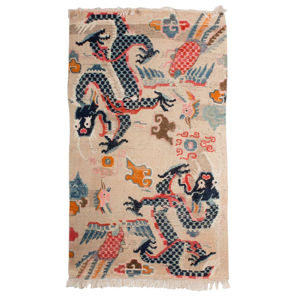 complete antique tibetan dragon and phoenix khaden rug | asian