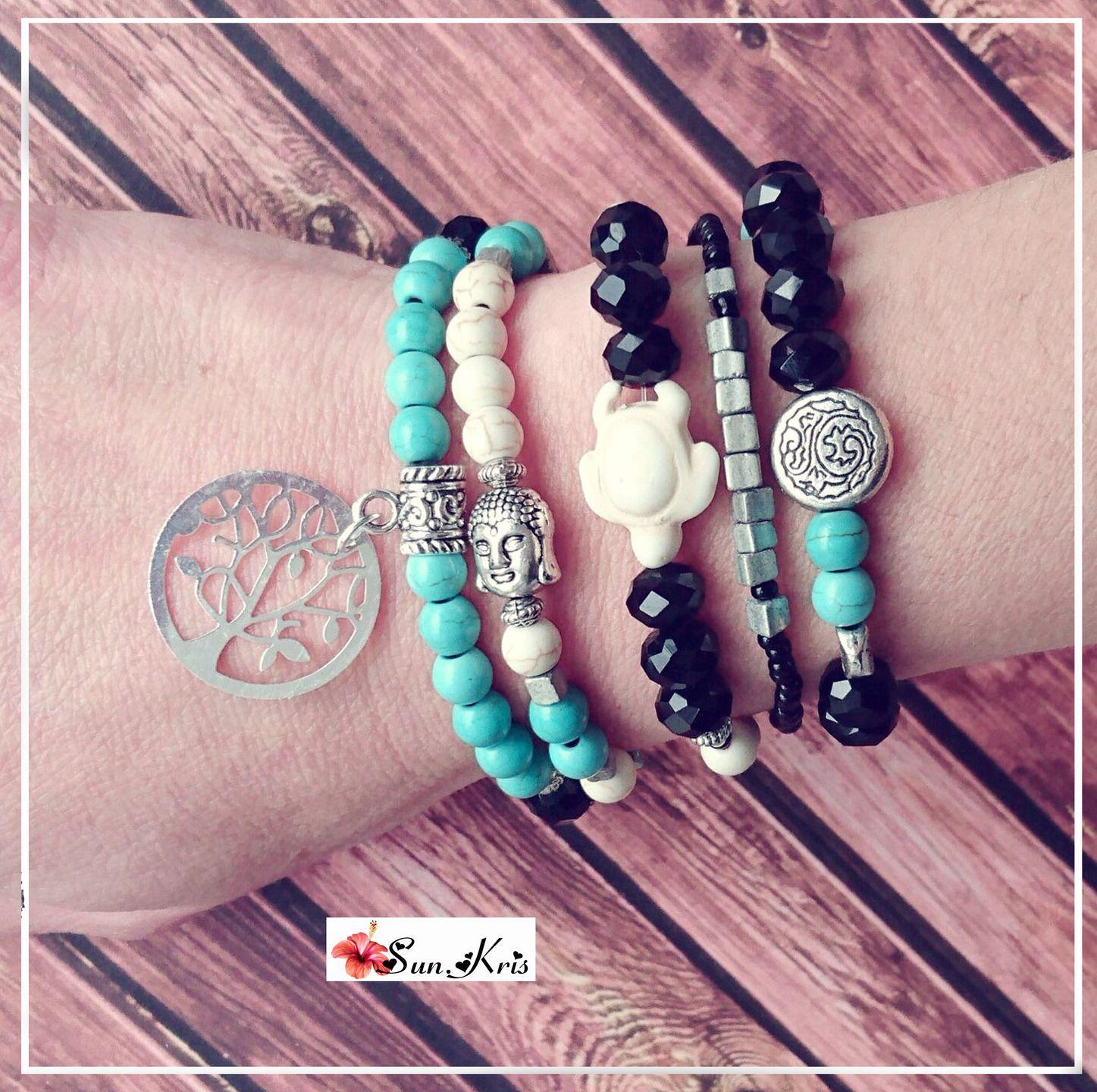 Association de cinq bracelets perles style bohème, bracelet tête de bouddha, bracelet tortue, bracelet arbre de vie, perles : Bracelet par sunkris
