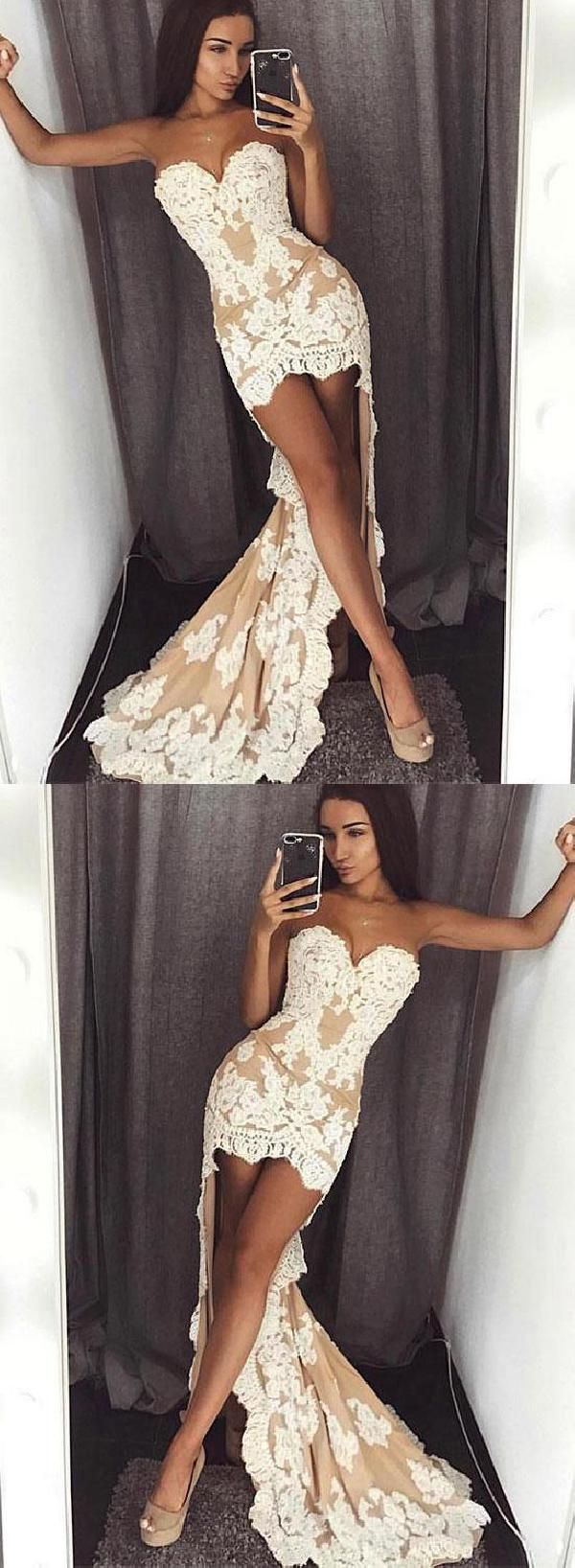 Lace mermaid lace white high low seve prom dresses