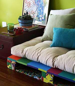 Crate Base Futon Love the colors, can do it with pallets.  Use oil paint and you seal in any chemicals used on the wood or stains.